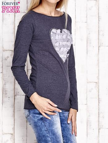 Granatowa bluzka z materiałową wstawką                              zdj.                              3