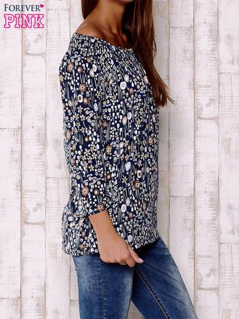 Granatowa bluzka z motywem floral print                                  zdj.                                  3