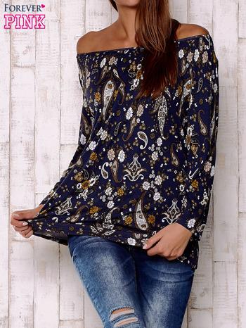 Granatowa bluzka z motywem paisley                                  zdj.                                  1