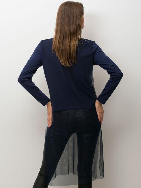 Granatowa bluzka z siatkową warstwą                               zdj.                              2