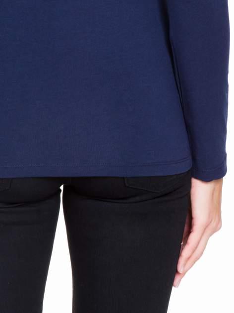 Granatowa bluzka z tiulowym karczkiem                                  zdj.                                  8