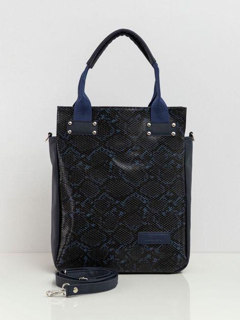 Granatowa damska torba z motywem zwierzęcym