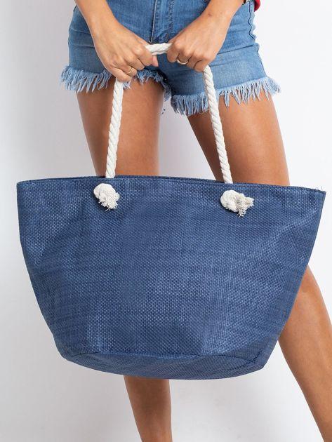 Granatowa damska torba z nadrukiem                              zdj.                              2