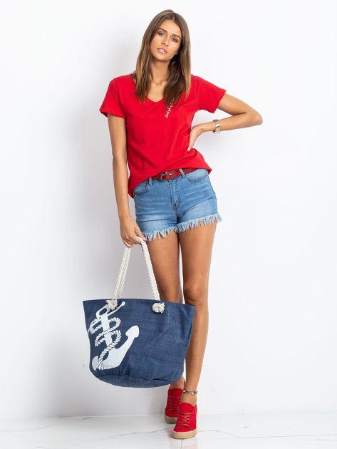 Granatowa damska torba z nadrukiem                              zdj.                              5