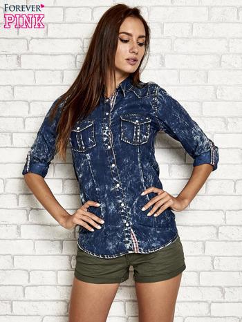 Granatowa dekatyzowana koszula jeansowa                                   zdj.                                  3