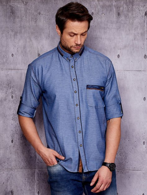 Granatowa denimowa koszula męska z zamszowymi wstawkami PLUS SIZE                              zdj.                              1