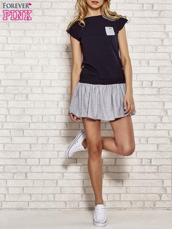 Granatowa dresowa sukienka tenisowa z kieszonką                                  zdj.                                  4
