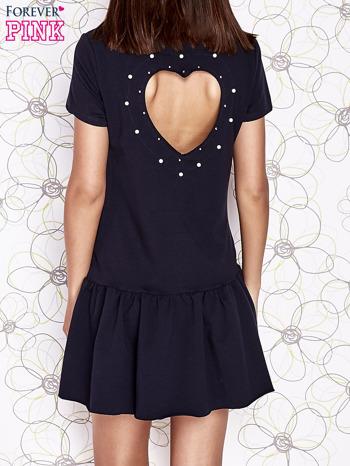 Granatowa dresowa sukienka z wycięciem na plecach                                   zdj.                                  4