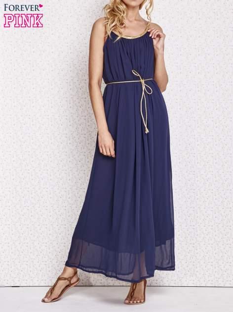 Granatowa grecka sukienka maxi ze złotym paskiem