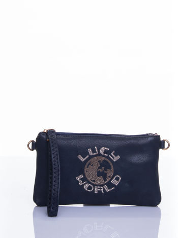 Granatowa kopertówka z dżetami napis LUCY WORLD