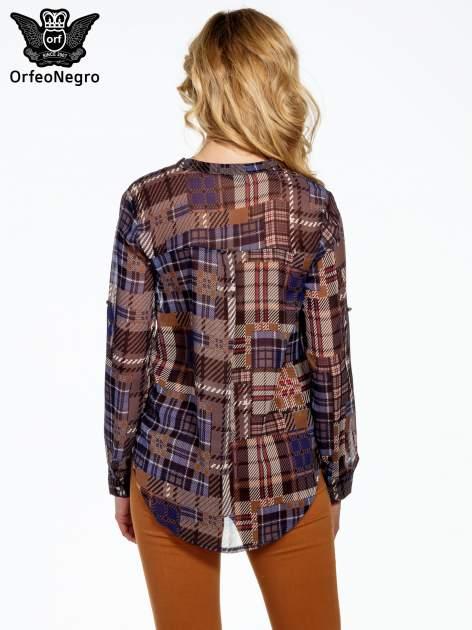 Granatowa koszula damska w kratę                                  zdj.                                  4