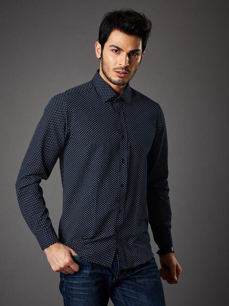 Granatowa koszula męska o klasycznym kroju we wzory                              zdj.                              5