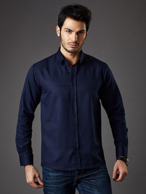 Granatowa koszula męska regular fit                              zdj.                              2