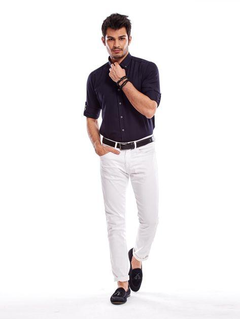 Granatowa koszula męska regular fit z podwijanymi rękawami                               zdj.                              11