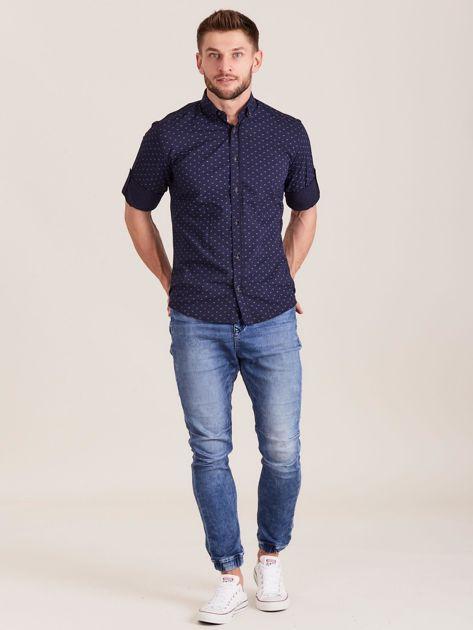Granatowa koszula męska w drobne wzory                              zdj.                              4