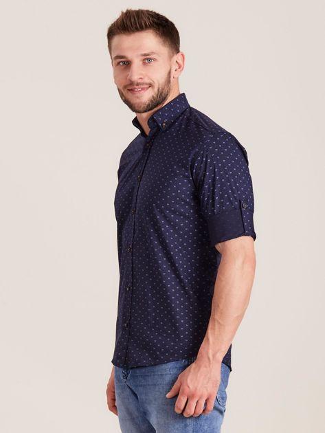 Granatowa koszula męska w drobne wzory                              zdj.                              3