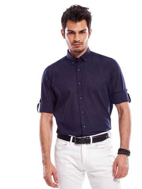 Granatowa koszula męska z podwijanymi rękawami                              zdj.                              1