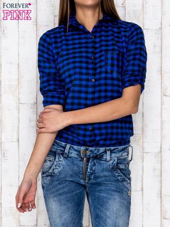 Granatowa koszula w ciemną kratę                              zdj.                              5