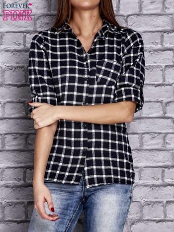 Granatowa koszula w kratę z kieszonką                                  zdj.                                  1