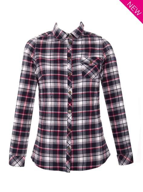 Granatowa koszula w kratę z kieszonką z przodu                                  zdj.                                  1