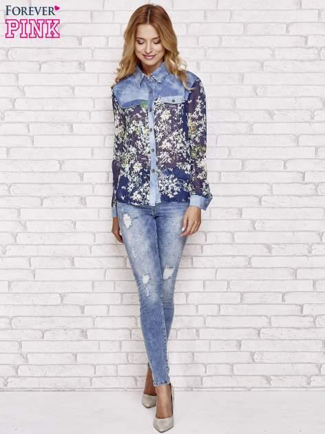 Granatowa koszula w kwiaty ze wstawkami z denimu                                  zdj.                                  4