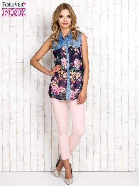 Granatowa koszula z kwiatowym motywem                                  zdj.                                  2
