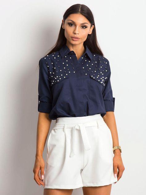 Granatowa koszula z perełkami                               zdj.                              1