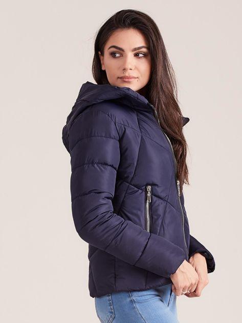 Granatowa krótka kurtka zimowa                              zdj.                              3