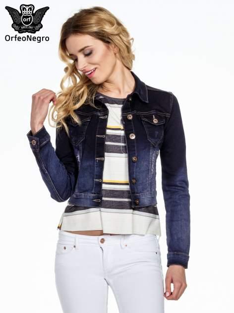 Granatowa kurtka jeansowa z efektem ombre                                  zdj.                                  1