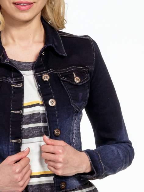 Granatowa kurtka jeansowa z efektem ombre                                  zdj.                                  5