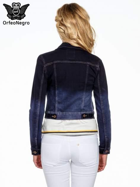 Granatowa kurtka jeansowa z efektem ombre                                  zdj.                                  3
