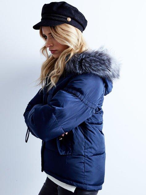 Granatowa kurtka zimowa pikowana                              zdj.                              6