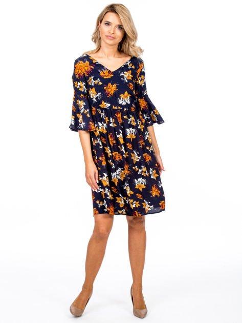 Granatowa kwiatowa sukienka z rozszerzanymi rękawami                              zdj.                              4