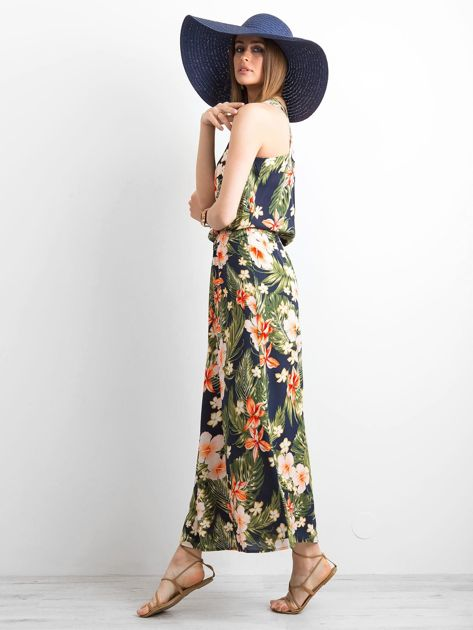 Granatowa letnia sukienka w kwiaty                              zdj.                              3