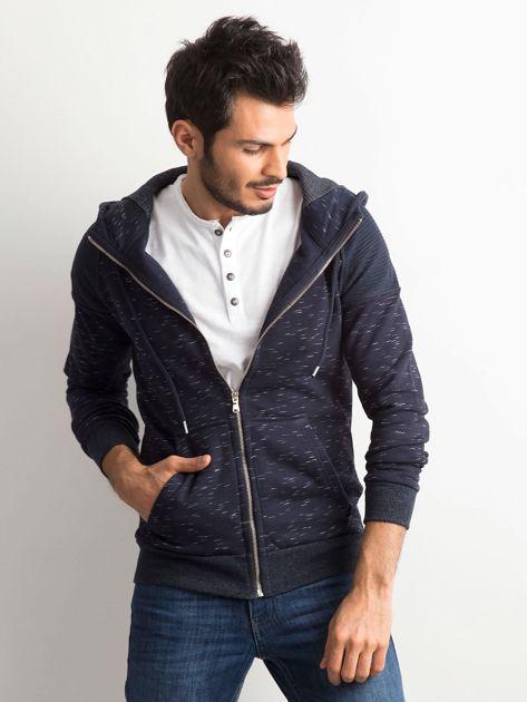 Granatowa melanżowa bawełniana bluza męska z kapturem                              zdj.                              1