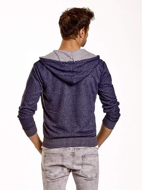 Granatowa melanżowa bluza męska z zasuwanymi kieszeniami                                  zdj.                                  5
