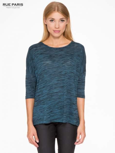 Granatowa melanżowa bluzka o obniżonej linii ramion                                  zdj.                                  1