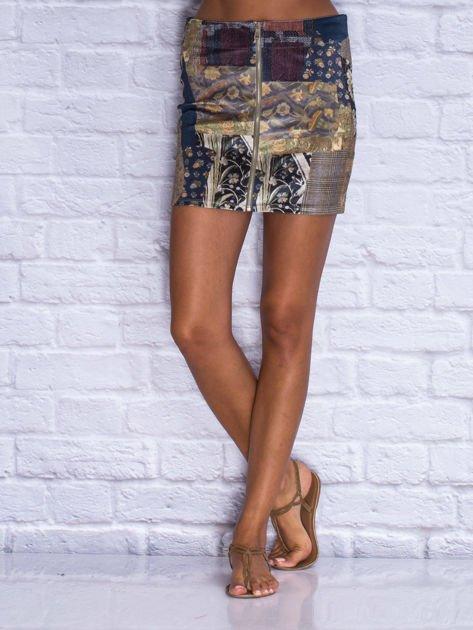 Granatowa patchworkowa spódnica mini z zamkiem                                  zdj.                                  1