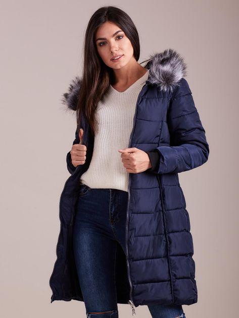 Granatowa pikowana damska kurtka zimowa                               zdj.                              6