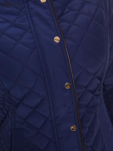Granatowa pikowana kurtka ze skórzaną lamówką                                  zdj.                                  8