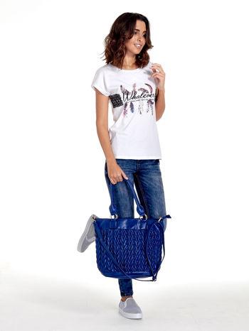 Granatowa pikowana torba na ramię                                  zdj.                                  11
