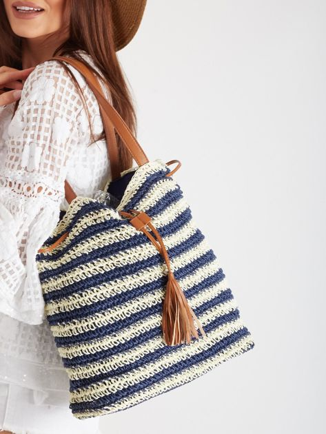 Granatowa pleciona torba                              zdj.                              1