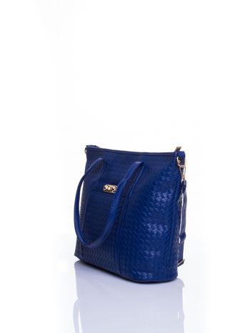Granatowa pleciona torba shopper bag ze złotym detalem                                  zdj.                                  4
