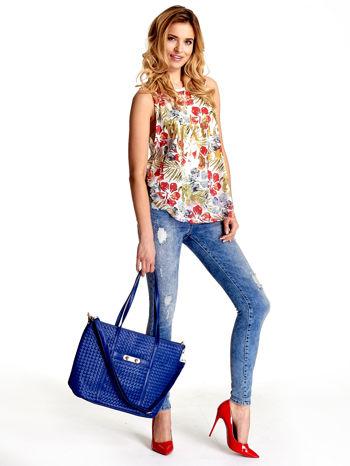 Granatowa pleciona torba shopper bag ze złotym detalem                                  zdj.                                  2