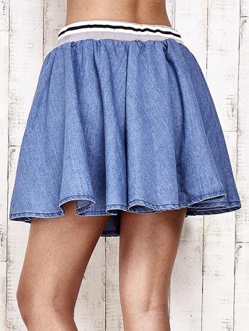 Granatowa rozkloszowana spódnica z gumką w pasie                                  zdj.                                  10