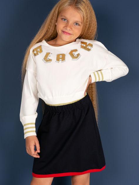 Granatowa spódnica dla dziewczynki z kontrastowym wykończeniem