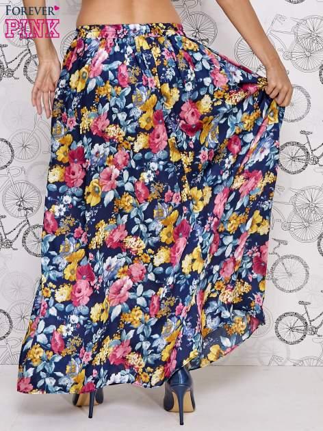Granatowa spódnica maxi w kwiaty                                  zdj.                                  4