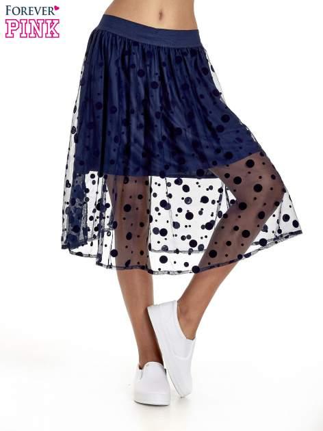 Granatowa spódnica z tiulową warstwą w groszki                                  zdj.                                  1