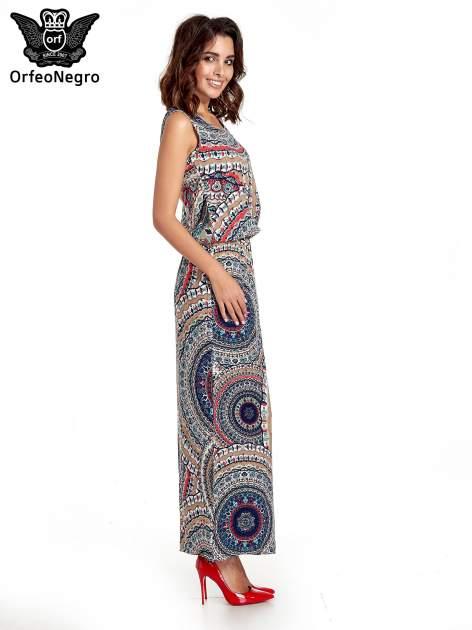 Granatowa sukienka maxi w etniczne wzory                                  zdj.                                  3