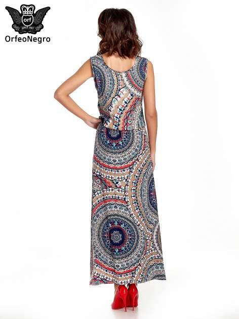 Granatowa sukienka maxi w etniczne wzory                                  zdj.                                  4